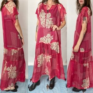 Johnny Was BIYA Floral Pink Sheer Maxi Dress/Gown
